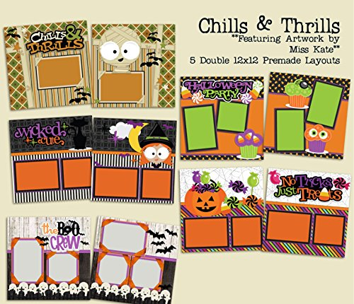 Chills & Thrills Set - 5 Double Page Layouts (Halloween Double Page Layouts)