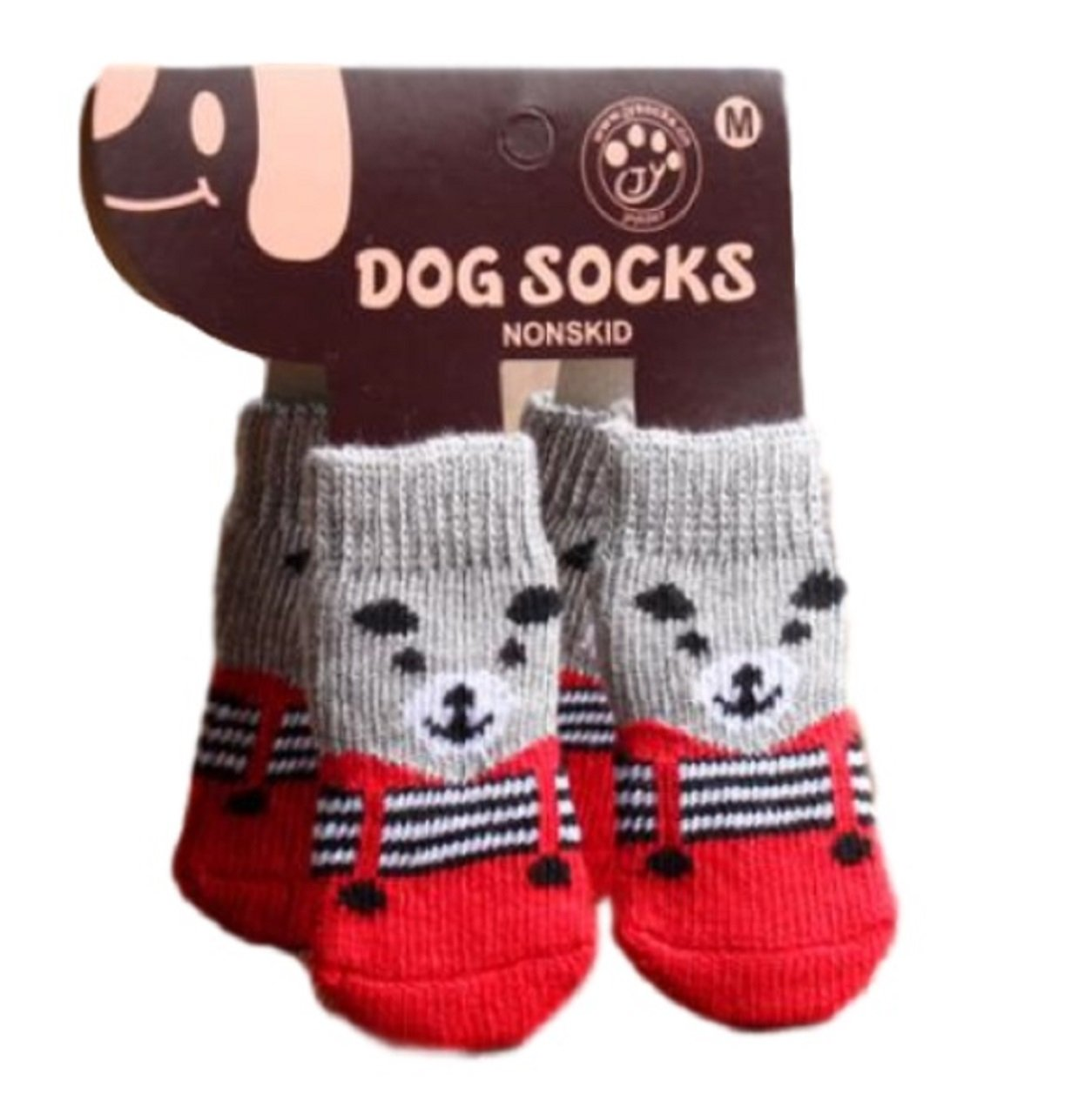 L Hoffnung Dog & cat socks pet socks dog foot slip non-slip warm socks (Red strap bear)