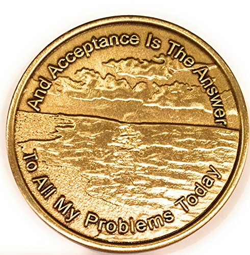 Acceptance Is The Answer Beach Sunrise Bronze AA Medallion Chip Page 449 417 ()
