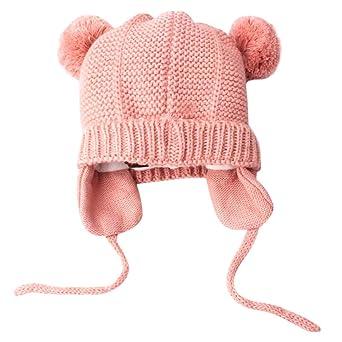 7021f5b8d8f3 Longra Bébé Chapeaux Fille Garçon Hiver Chaud Crochet Tricoter Chapeau  Echarpe Calotte Chapeau Bonnet Casquette Enfants