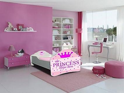 Cama infantil, diseño de princesa de colchón somier 140 x 70 ...
