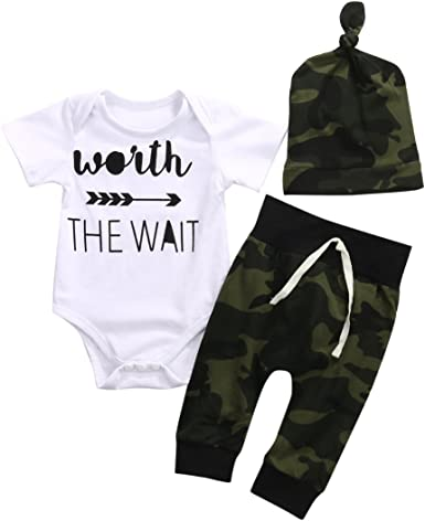 NSBE 3Pcs Newborn Baby Boys Deer Antlers Print Camouflage Outfit Short//Long Sleeve Romper+Elastic Pants+Hat Clothes