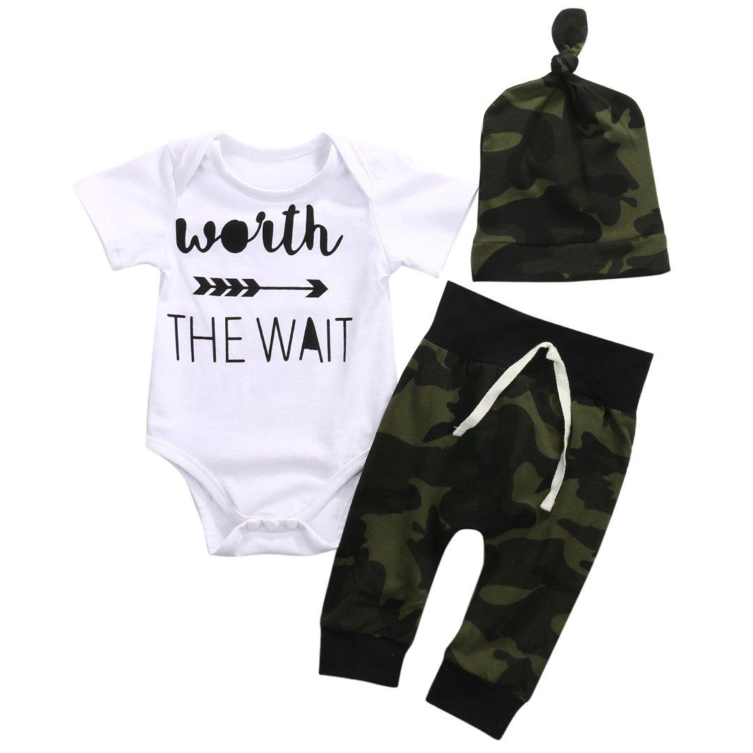 3PCS Newborn Baby Boys Cute Letter Print Romper+Camouflage Pants+Hat Outfits Set (9-12 M, White)