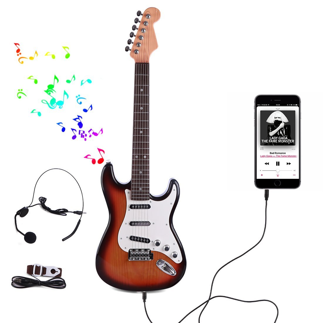 WOLFBUSH Kids Toy Guitar, 6 Strings Cool Music Guitar 26 Inches Musical Instruments Educational Toy for Children, with Microphone Headset + Data Cable