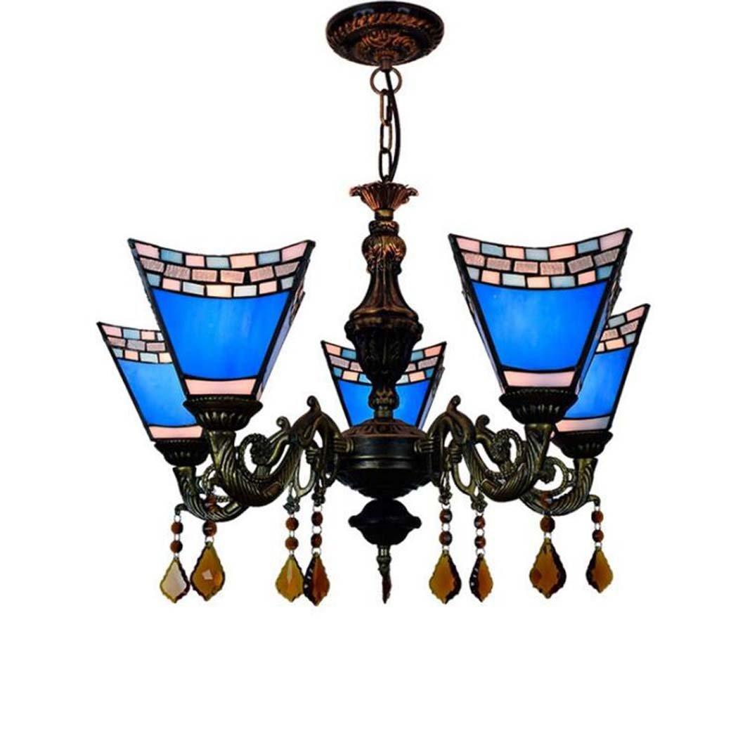 ティファニースタイルのシャンデリア、地中海のブルーダブテールデザインペンダントランプ、リビングルームダイニングルームバーアートペンダントライト GAOLIQIN B07H5KWYJT