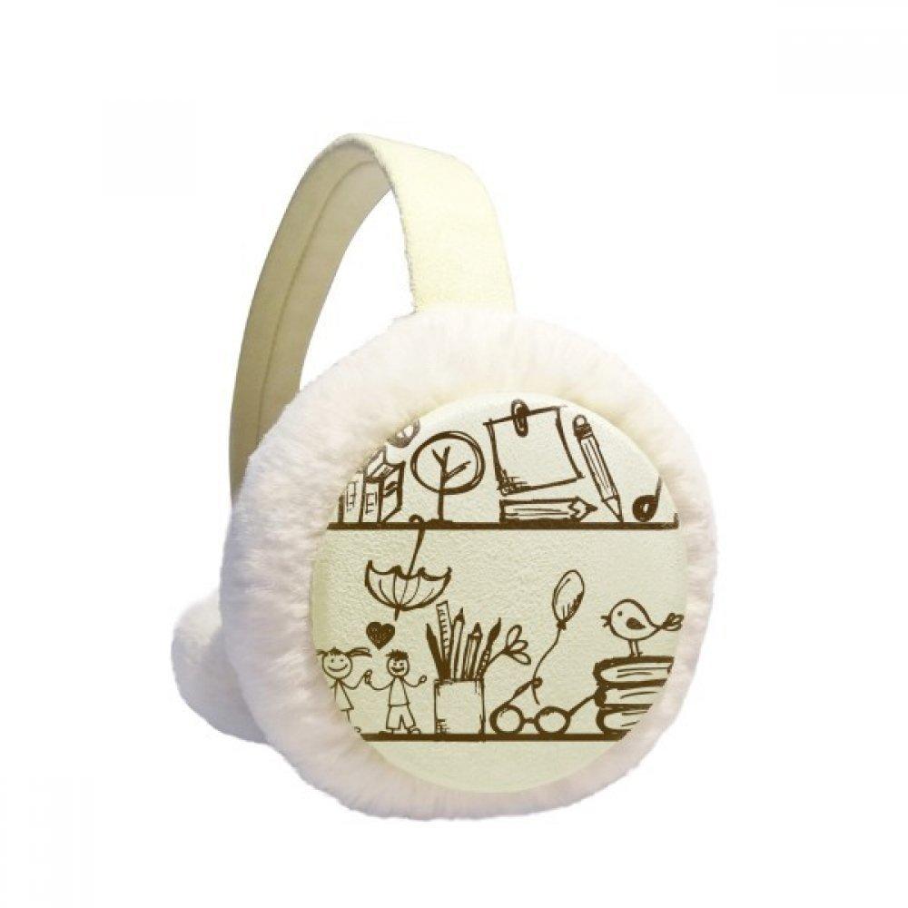 Children Cute Illustration Bookshelf College Winter Earmuffs Ear Warmers Faux Fur Foldable Plush Outdoor Gift