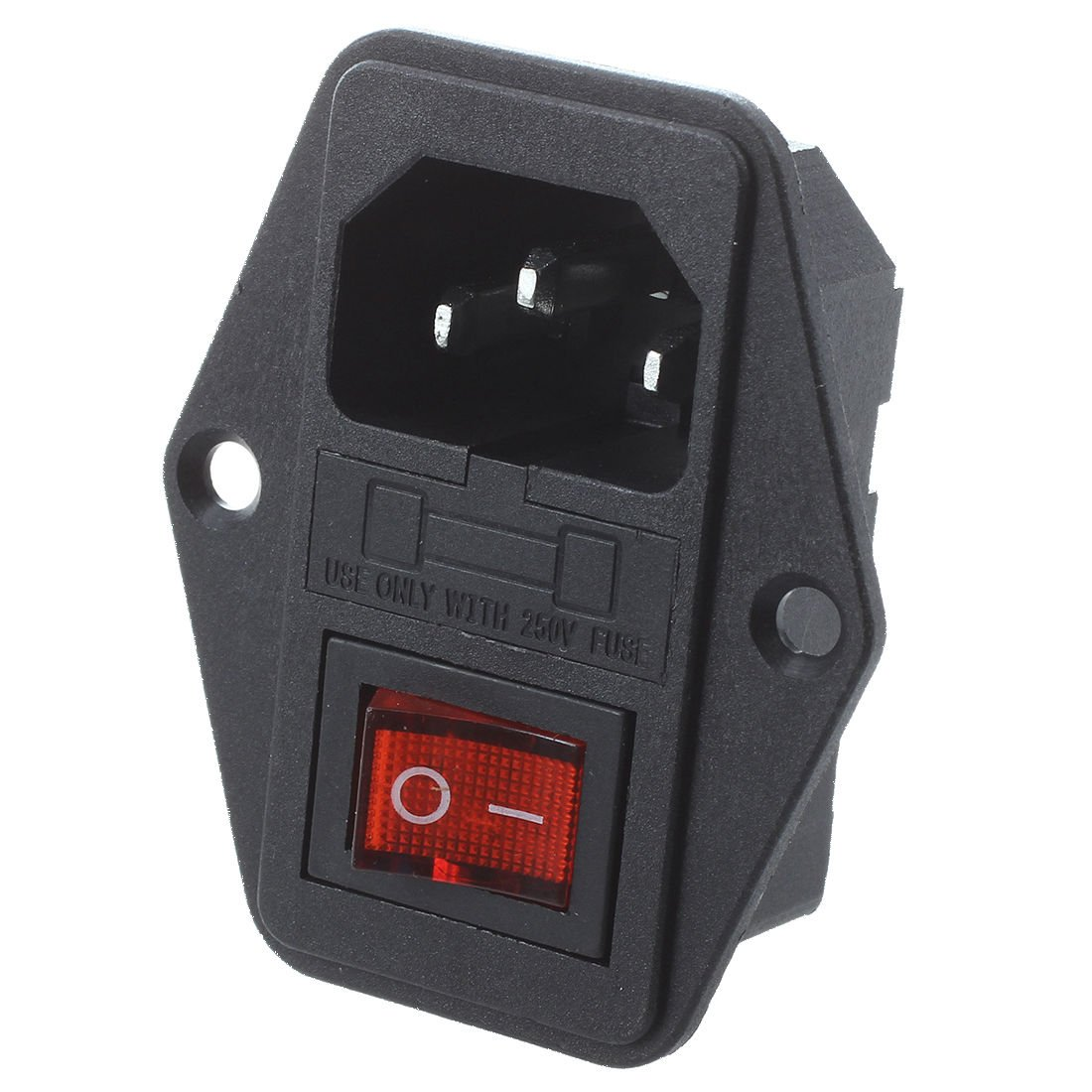 SODIAL(R) Black Plastic Housing AC 250V 15A 3 P C14 Power Socket w Rocker Switch