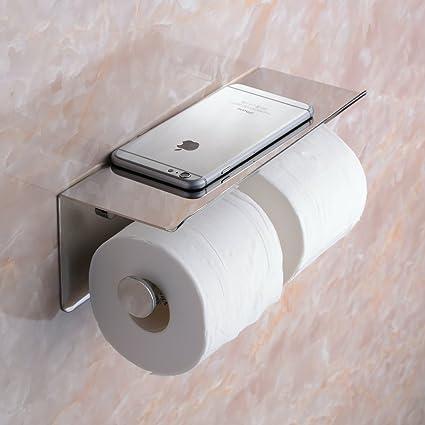 Beelee SUS 304 Acero inoxidable doble rollo de papel higiénico titular de almacenamiento de baño cocina