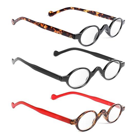 2edd3a1641a Amazon.com  Wivily Retro Vintage Mini Small Round Frame Readers Men Womens  Reading Glasses - Leopard (+2.5)  Health   Personal Care
