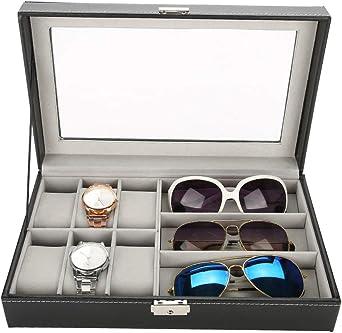 Estuche organizador de relojes, piel sintética, 3 cuadrículas, gafas de sol, 6 celdas, caja de almacenamiento, organizador, negro, 30 x 19 x 9 cm: Amazon.es: Relojes