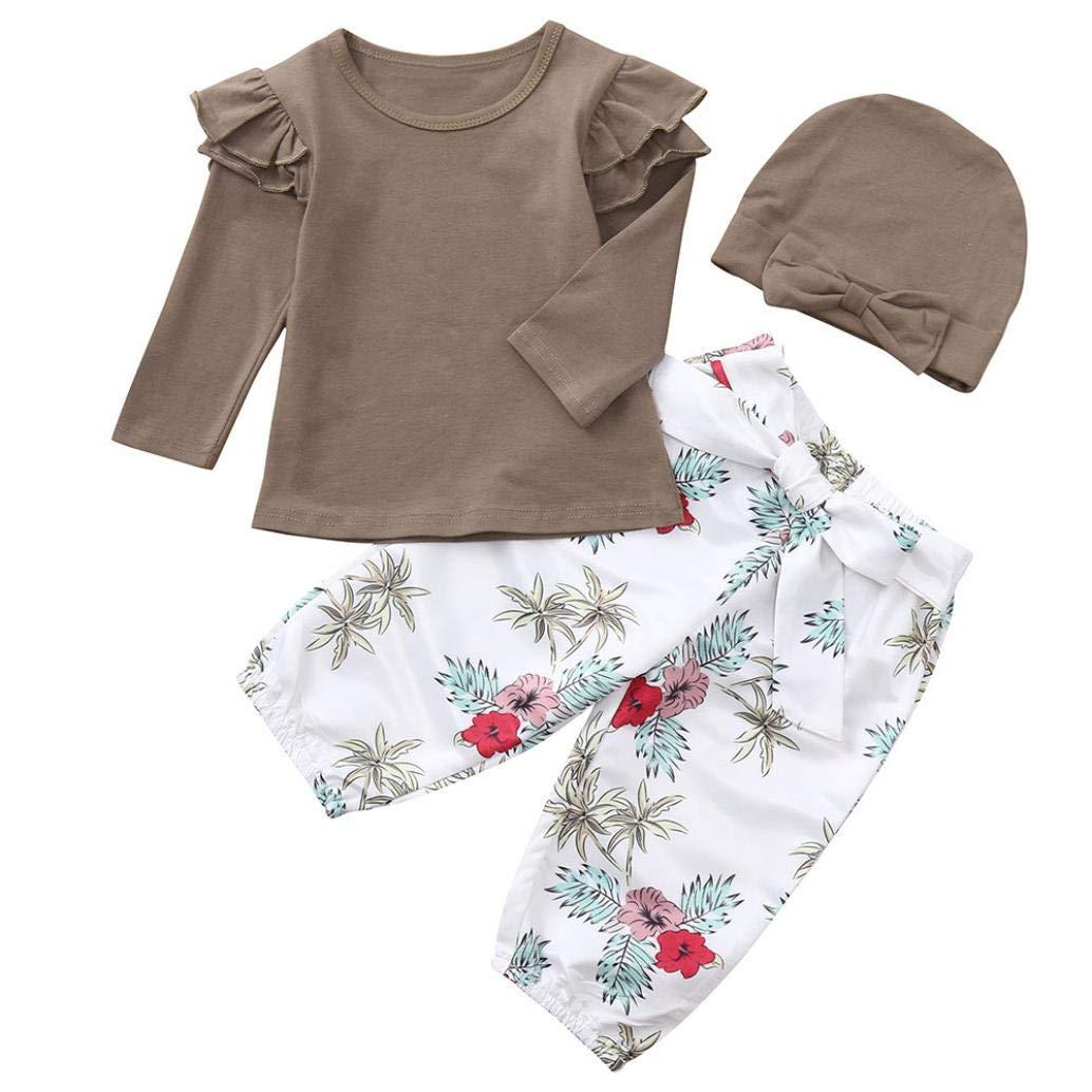 クリアランス! 幼児 赤ちゃん 女の子 トップス Tシャツ 花柄プリントパンツ 帽子 服セット, 12M, ブラウン, 1 12M ブラウン B07GB36F2C