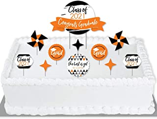 product image for Big Dot of Happiness Orange Grad - Best is Yet to Come - 2021 Orange Graduation Party Cake Decorating Kit - Congrats Graduate Cake Topper Set - 11 Pieces