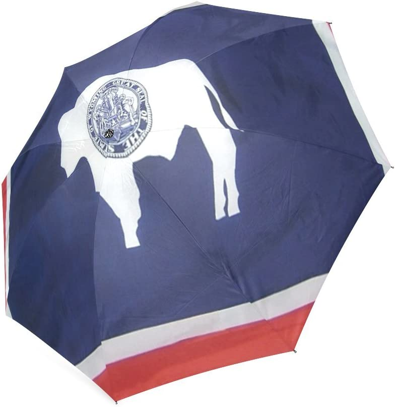 Lovers//Wife//Husband Gifts Presents Wyoming State Flag Compact Foldable Rainproof Windproof Travel Umbrella