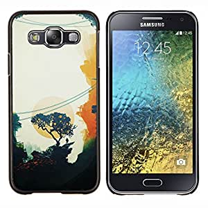 YiPhone /// Prima de resorte delgada de la cubierta del caso de Shell Armor - Pintura Oriental Sunset Trees minimalista - Samsung Galaxy E5 E500