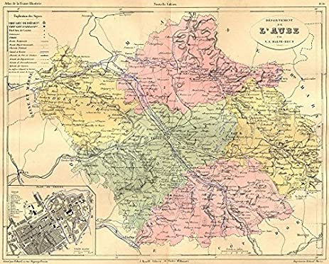 Amazoncom AUBE Departement de LAube plan Troyes 1881 old