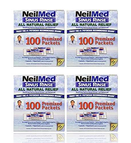 NeilMed Sinus Rinse 100 Salt Premixed Packets for Allergies & Sinus (Pack of 4)