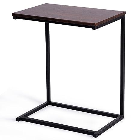 Amazon.com: Mesa auxiliar de madera dura con soporte para ...