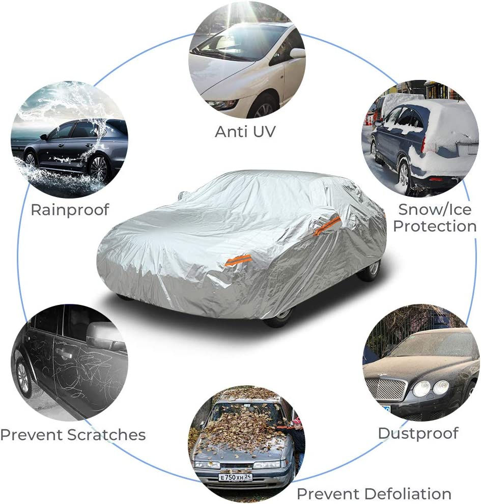 GES 6 Layers Car Cover UV Protection Snowproof Waterproof Dustproof Full Car Covers with Zipper Cotton Universal Fit for Sedan SUV Fit Sedan 186-193