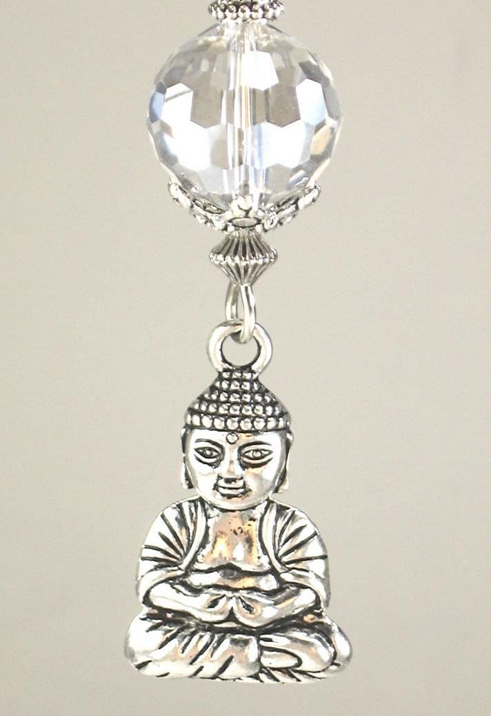 Silvery Happy Buddha Head & Crystal Clear Faceted Glass Ceiling Fan Pull Chain