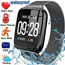 Fitness Tracker for Women Men with Blood Pressure Heart Rate Monitor 1.3 Touchscreen Waterproof Smartwatch Activity Tracker Pedometer Calorie Blood Oxygen Smart Wrist for Birthday Gift (Steel Band)