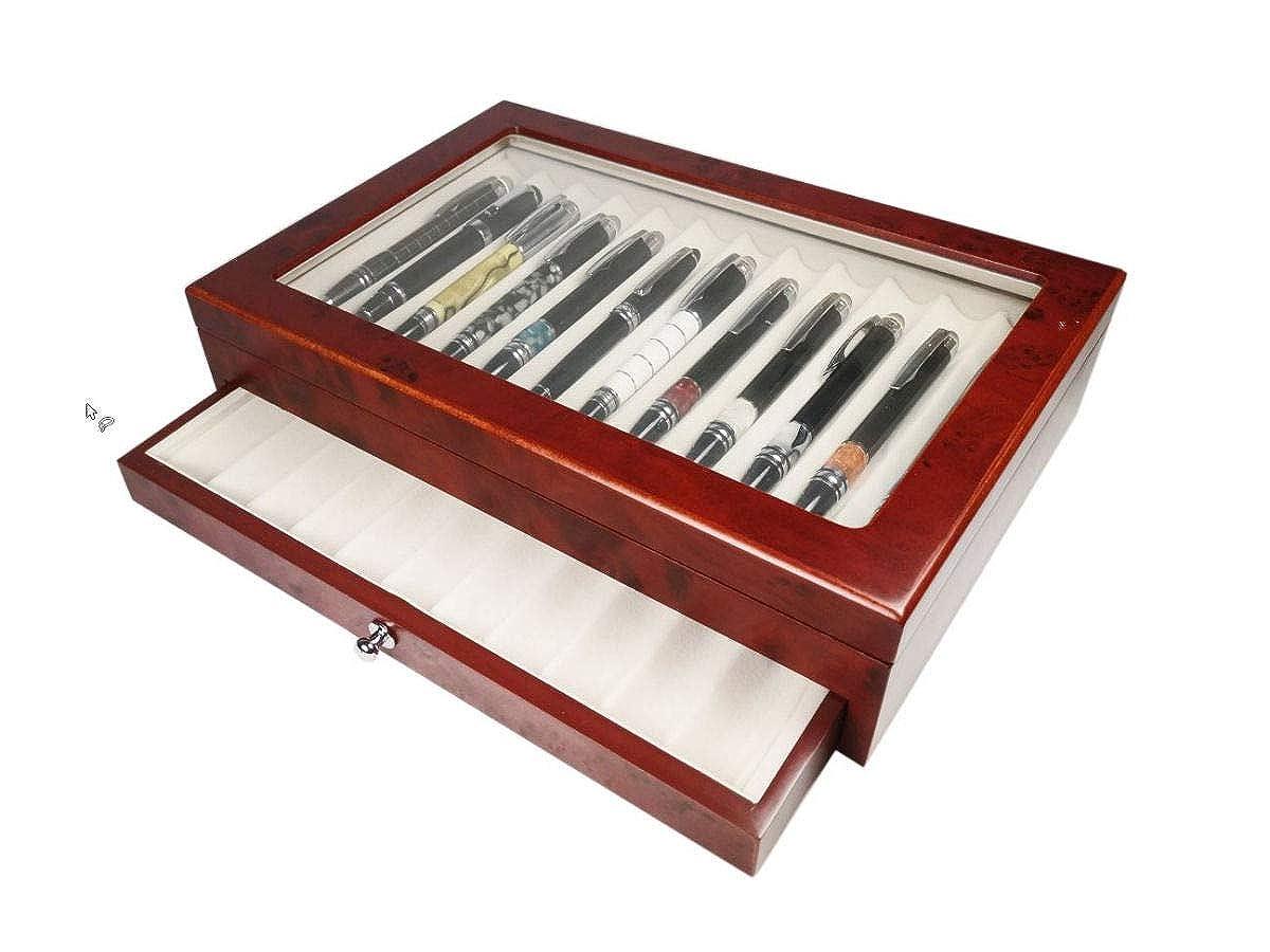 Scatola portapenne in legno con vetrina Cofanetto Astuccio per 23 penne finitura radica Campione Collections