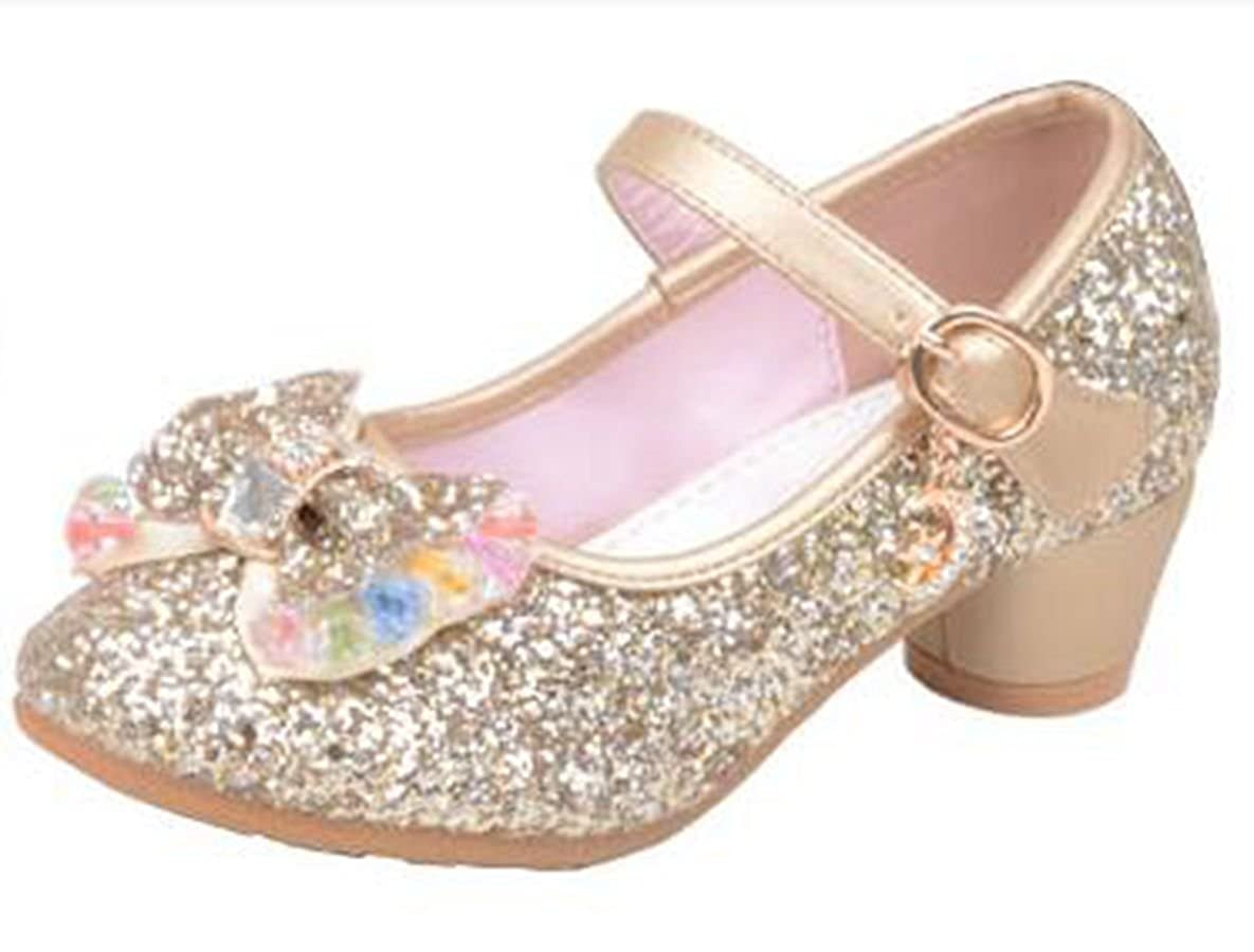Ychen Mary Jane Kids Girls Glitter Sparkle Low Heels Party Shoes