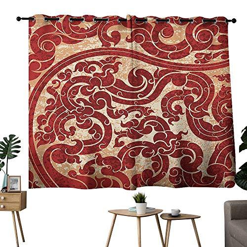 (bybyhome Antique Grommet livingroom Darkening Curtains Thai Culture Vector Abstract Background Flower Pattern Wallpaper Design Artwork Print Room/bedroomRu W84 x)