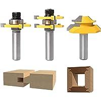 KU Syang 3Pcs Wood Milling Cutter Woodworking Tool 45 degree Lock Mitre Glue Joint Router Bit Router Bit Set 3 Teeth T…