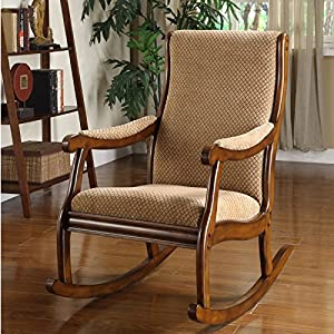 Delightful Mia Upholstered Rocking Chair W/ Padded Arms