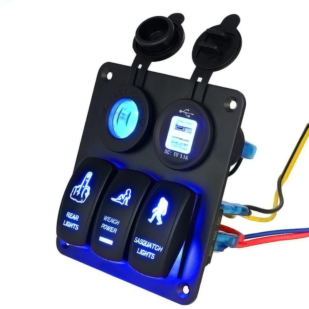 Hansee LED Interruttore 5/Banda Impermeabile Auto per Barche Marine LED Interruttore Pannello interruttori