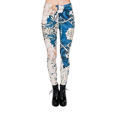 64a5b8a0818476 Hanessa Frauen Leggins Bedruckte Leggings Hose Frühling Sommer Kleidung  Blumen Frau Blau Weiß L60