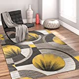 "Sunburst Gold, Light Grey, Charcoal Modern 5x7 ( 5'3"" x 7'3"" ) Geometric Comfy Casual Hand Carved Area Rug Easy to Clean Stain & Fade Resistant Abstract Contemporary Thick Soft Plush"