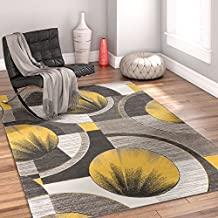 Sunburst Gold, Light Grey, Charcoal Modern 4x5 4x6 ( 3'11'' x 5'3'' ) Geometric Comfy Casual Hand Carved Area Rug Easy to Clean Stain & Fade Resistant Abstract Contemporary Thick Soft Plush
