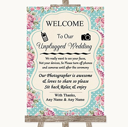 Vintage Shabby Chic Rose No Phone Camera Unplugged Personalized Wedding Sign