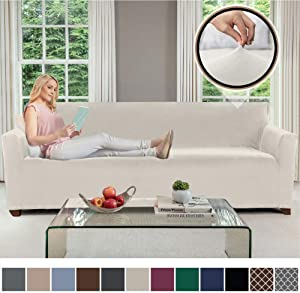 GORILLA GRIP Original Fitted Velvet 1 Piece X-Large Oversized Sofa Protector, Seat Width up to 78 Inch, Stretch Furniture Slipcover, Fastener Straps, Spandex Couch Slip Cover for Dog, Sofa, Soft Linen