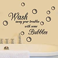 SMILEQ Lovely Quote Wall Stickers Wash Bubbles Removable Art Vinyl Mural Home Room Decor Home Decal (A)