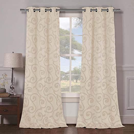 Duck River Textiles – Lewis Solid Faux Silk Textured Blackout Room Darkening Grommet Top Window Curtains Pair Panel Drapes for Bedroom, Living Room – Set of 2 Panels – 38 X 84 Inch – Beige