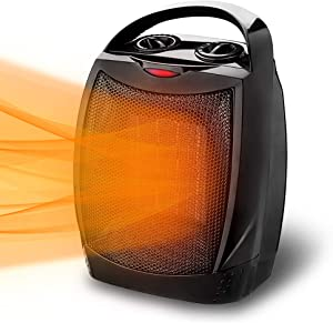 LIFEPLUS Electric Space Heater - Ceramic Space Heater with Adjustable Thermostat Tip Over and Overheat Shut-off, Small Portable Heater for Bedroom Office, 3 Modes Adjustable Convenient