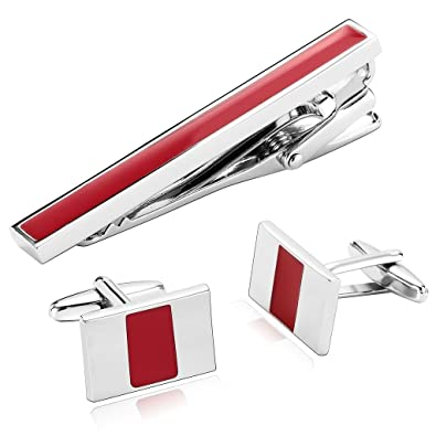 KnSam Stainless Steel Tie Clips for Mens Rectangle Pattern Square Silver Tie Bar