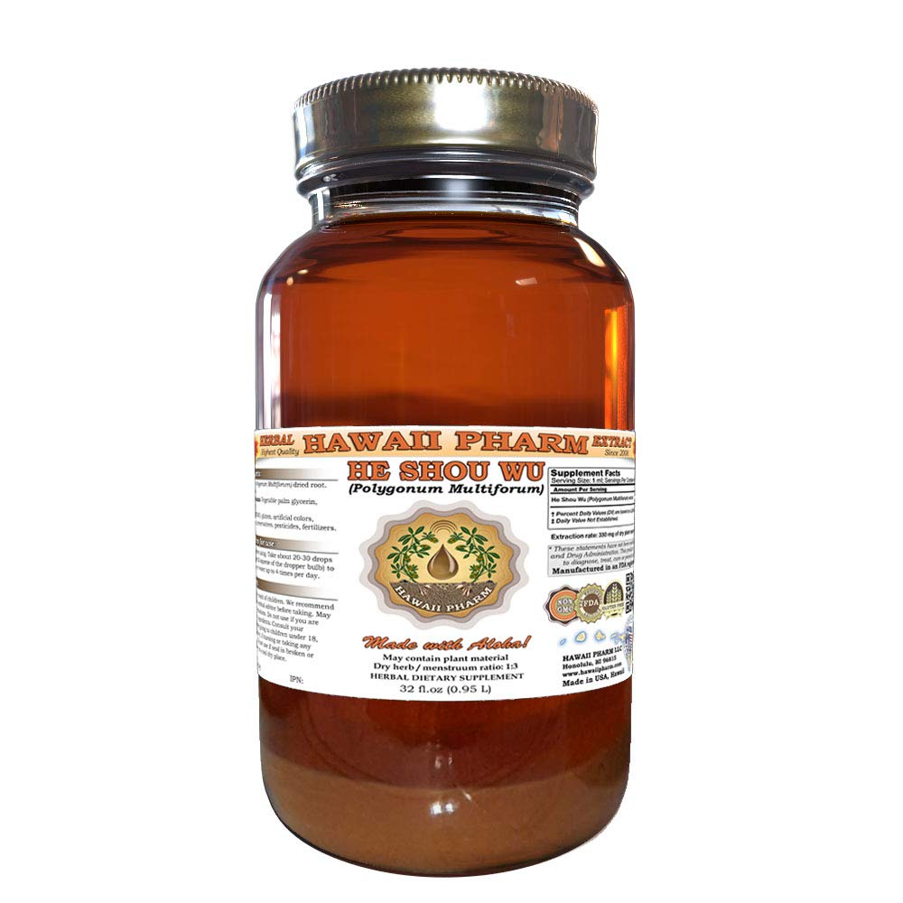 He Shou Wu, Fleeceflower Root (Polygonum Multiforum) Tincture, Dried Root Liquid Extract, He Shou Wu, Herbal Supplement 32 Oz