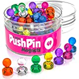 49 Push Pin Magnet Set - Colored Cute Magnets for Whiteboard Organization - Decorative Magnets for Refrigerator - Magnetic Push Pin Magnets Refrigerator - Picture Magnets - Refrigerator Magnets Strong