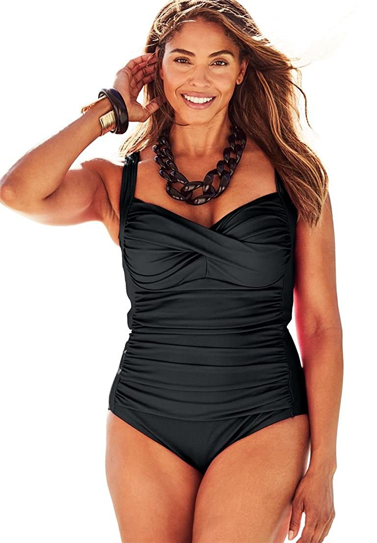 swimsuitsforall Women's Plus Size Shore Club Twist-Front Swimsuit