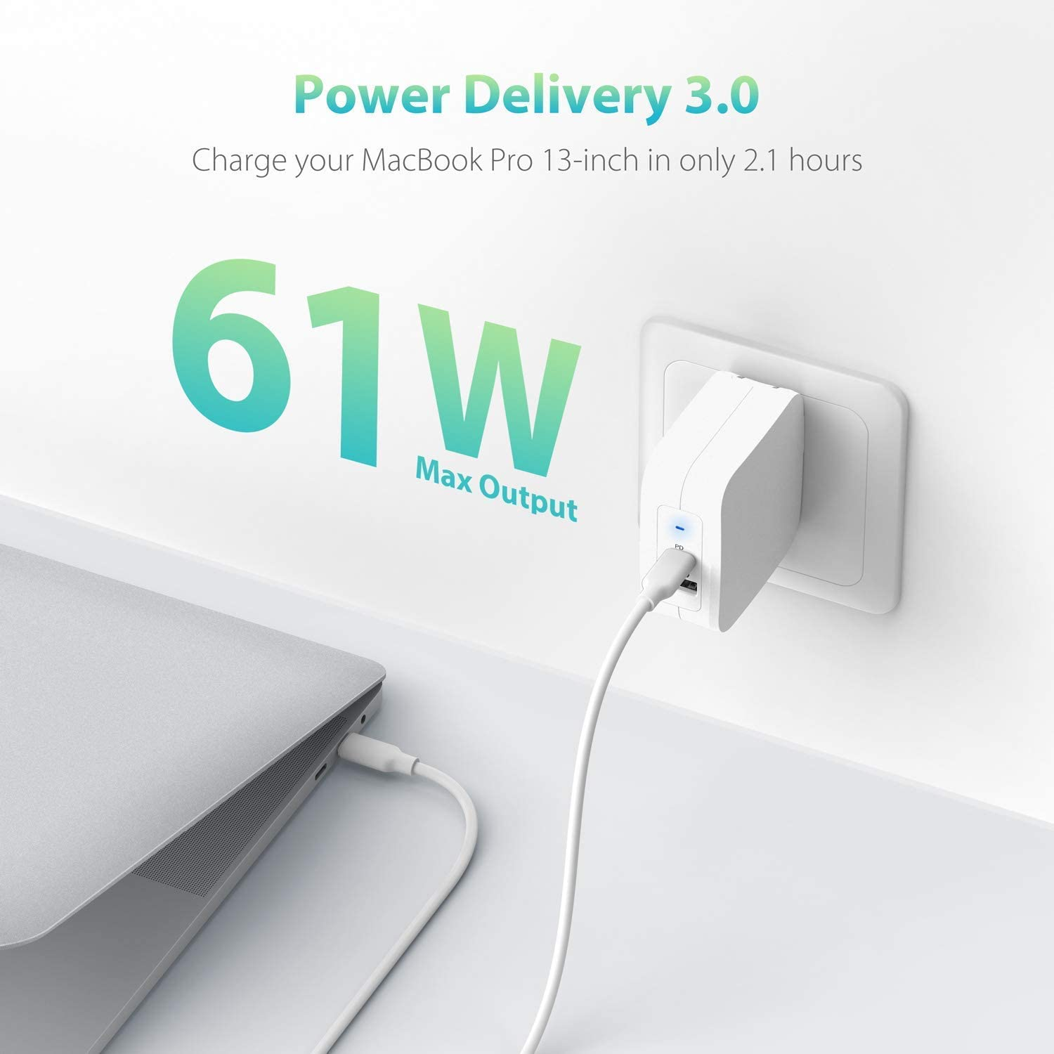 MacBook Pro Air RAVPower 61W Type C PD 3.0 Power Adapter Compatible with iPhone 11//11 Pro // 11 Pro Max White USB Wall Charger Dell XPS Dual Port USB C Wall Charger iPad Pro 2018 and More