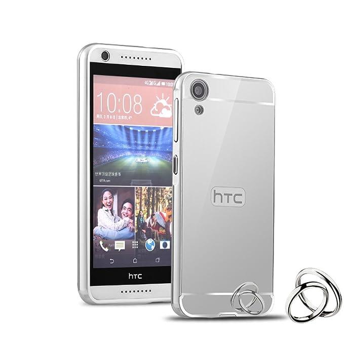 HICASER Duro Híbrido Carcasa para HTC Desire 820 Bumper Case del Metal Aluminio + PC Ultrafina Espejo Efecto Trasero Funda Cover Plata