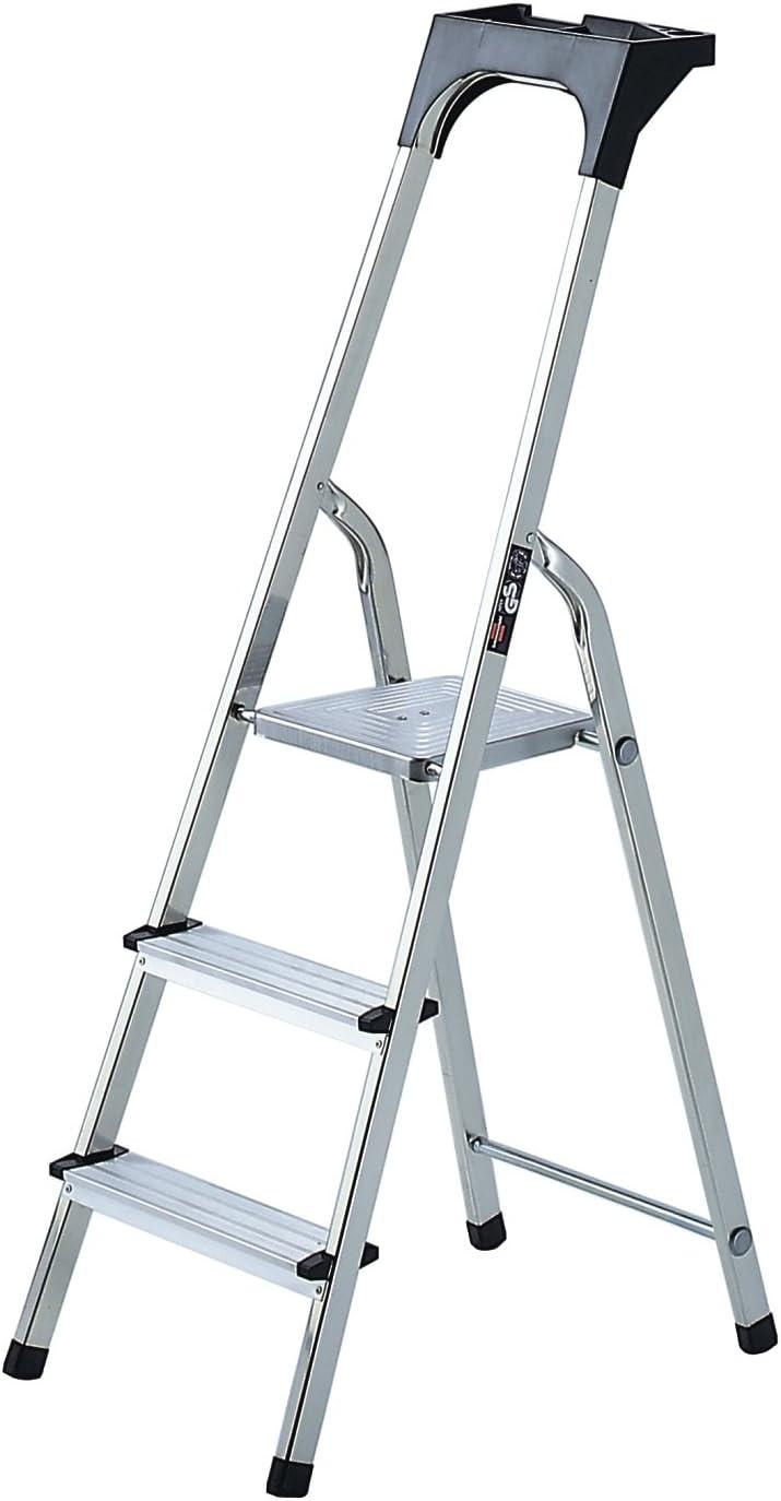 Brennenstuhl Haushaltsleiter aus Aluminium mit Arbeitsschale Alu-Stehleiter mit 6 Stufen, Traglast max. 150 kg