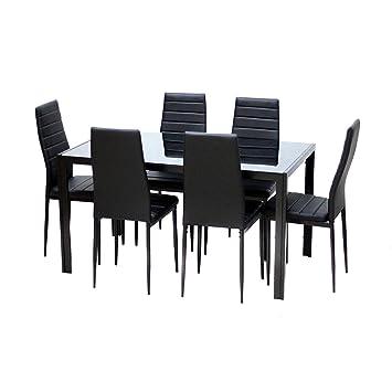 Lot de 6 Chaises en cuir et une Table pour Salle à Manger cuisine (Noir)