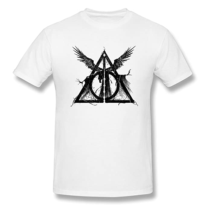 Yvonneart Mens Harry Potter Elder Wand Deathly Hallows Logo Tee