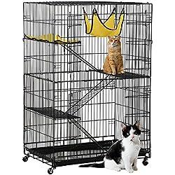 Yaheetech Deluxe Pets Cat Cage Playpen 4 Floors Iron Black 31.7×21.7×47.2 inch