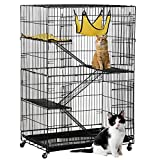 Yaheetech Deluxe Pets Cat Cage Playpen 4 Floors Iron Black 31.7×21.7×47.2 inch