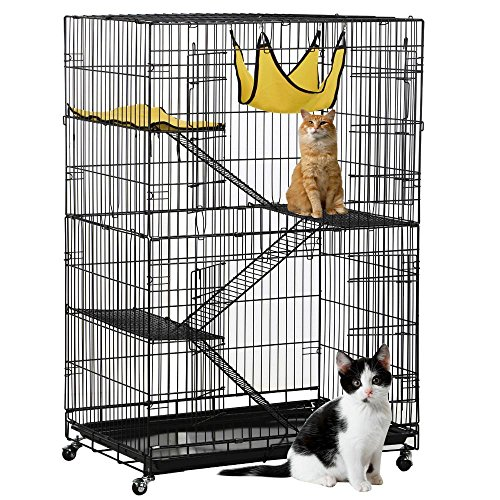 (Topeakmart 4-Tier Foldable Kitten Cat Home Cages Wire Pet Crate House with Leopard Hammock Bed & Wheel Casters for Measures 32L x 22W x 48H inches)